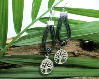 Boucles d'oreilles Arbre de Vie, cuir noir, bijoux fait main, amérindien, leather earring, native, tree of life, hand made jewelry