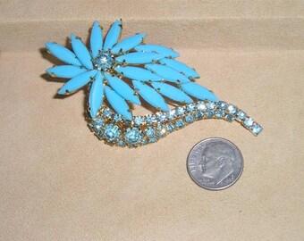Vintage Teal Navette Brooch With Crystal Blue Rhinestones 1950's Jewelry 2150