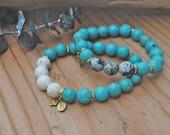 Handmade Beaded Turquoise / Gold Bracelet Stack