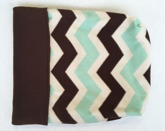 Dog or Cat Burrow Bag, Sleeping Bag, Snuggle Sack, Mint Green, Ivory, & Chocolate Brown Chevron Print with Brown Fleece Lining