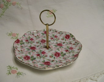 Lefton Chintz Tidbit Serving Plate Handled Vintage