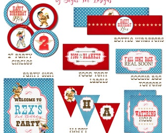 Vintage Cowboy and Indian Party Prints - Cowboy and Indian Birthday Sign, Food Labels, Favors, Cupcake Toppers, Banner, Wrappers - PRINTABLE