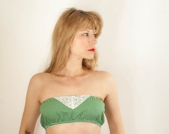 Green Gingham Strapless Bandeau Bra Top. Sizes 8,10,12,14,16
