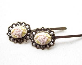 HAARKLAMMER,2er Set,Vintage,hair pin,vintagestyle hairpin,cameo hairpin,shabby chic hairpin