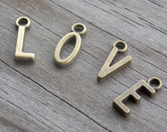 26 Bronze Alphabet Charms 14mm 1 Set of Antiqued Bronze Letter Charms