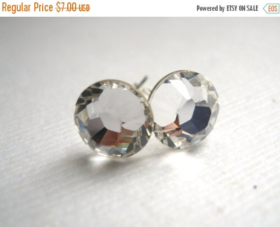 SALE Swarovski Crystal Stud Earrings, Crystal Earrings, Post Earrings, Silver Plated, White, Clear, Transparent, Bridesmaid Gifts