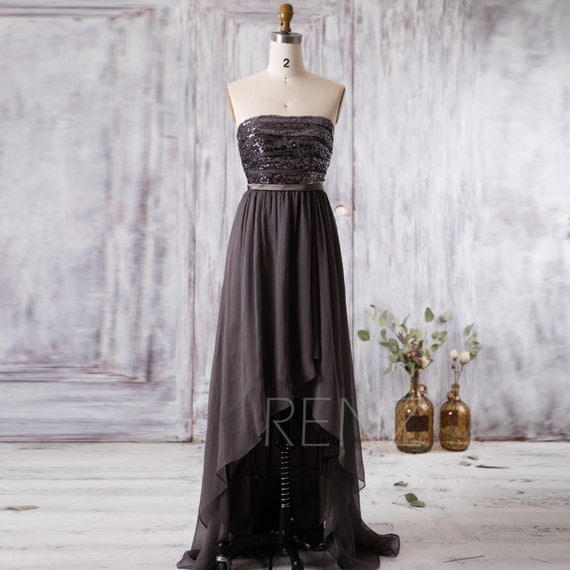 2016 Charcoal Bridesmaid Dress Long High Low Wedding By