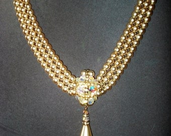 Faux Pearl Cream and Crystal Necklace