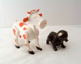 Vintage Fisher Price Cow and Pig - Fisher Price Farm Animals