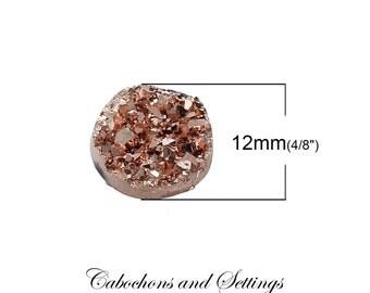 10 x Soft Rosy Gold AB Druzy Round  12mm Bezel Cabochons - AUSTRALIA