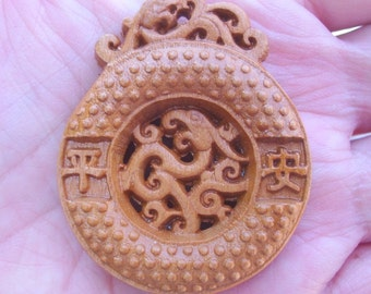 1 WOOD Carved Pendant 46x38x12mm - COD7987