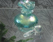 Vintage Glass 1992 Gibson Aqua Peacock Blue Carnival Iridescent Perfume Bottle - FREE SHIPPING