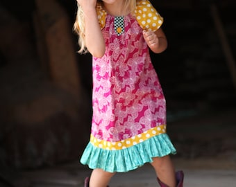 Fall Flutter Peasant Style Dress with Button and Ruffle Accents