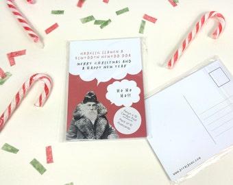 SALE - SEL - Pack of 10 Bilingual Welsh English Christmas Greeting Postcard Santa Red