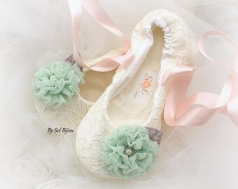 Girl Flats,Ivory,Mint,Blush,Pink,Flower Girl,Lace Flats,Ballet Flats,Bat Mitzvah,Confirmation,Birthday,First Communion,Prom,Flats,Slippers