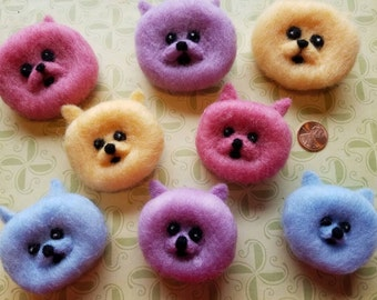 Whimsical Pomeranian Pup Pin...Needle felted in coopsworth wool