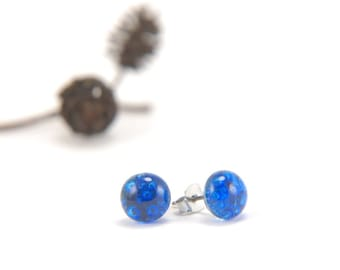 Sapphire blue bubbles, fused glass stud earrings full of tiny bubbles with surgical steel posts, true blue