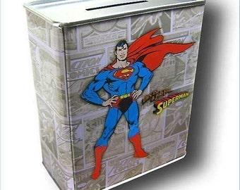DC Comic Superman Man of Steel Comic Book Tin Money Bank