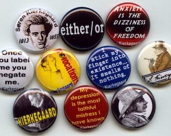 """Soren Kierkegaard Existentialism Danish philosopher Sociology Theologian 10 Pinback 1"""" Buttons Badges Pins"""