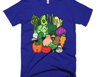Vegetable Reunion - T-shirt Printed on American Apparel Fine Jersey Short Sleeve Women or Men T-shirt. Other colors available! Health Promo