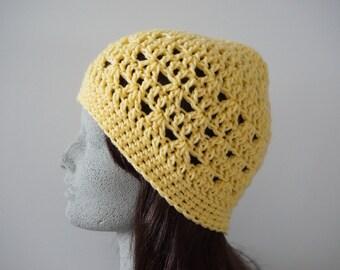 Yellow Crochet Hat Butter Yellow Womens Crocheted Beanie Lacy Crochet Beanie (HAT103 Butterscotch)