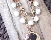 SALE was 25.00 now 15.00 Layered crystal and beaded necklace.