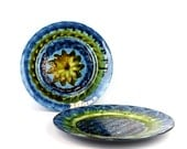 Pair of Vintage Welsh Porthmadog/Portmadoc Psychadelic Blue and Green Plates - FREE UK SHIPPING
