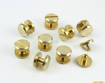 30 Pieces 10*4mm Leather Craft Belt Wallet Solid Brass Nail Rivet Chicago Screw Flat Head (PABR05)