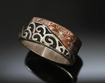 Mokume Silver Spiral Wide Ring - Oxidized Black Patina - Rounded Square - Unique Wedding Band - Mens Mokume Ring - Handmade in BC Canada