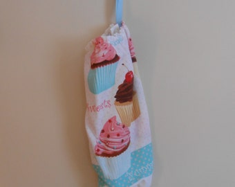 Shopping Bag Dispenser - Plastic Bag Holder - Grocery Bag Storage - Cupcakes - Small Size Bag