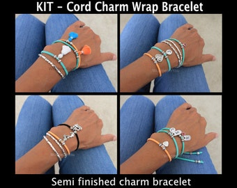 DIY KIT - Charm Wrap Bracelet - Faux Suede Cord - Pick COLOR / Length - Jewelry Design Attach Your own charm - Instant Shipping - Usa seller