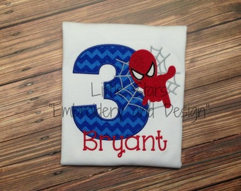 Spiderman Birthday Shirt - Appliqued and Personalized - Choose Number 1-9