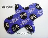 10 inch cloth pad - cloth menstrual pad - medium or light flow pad - plus size cloth pad - purple skulls flannel - in stock ready to ship