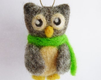 needle felted owl Christmas ornament - owl holiday ornament with lime green scarf - owl Christmas tree ornament - in stock & ready to ship