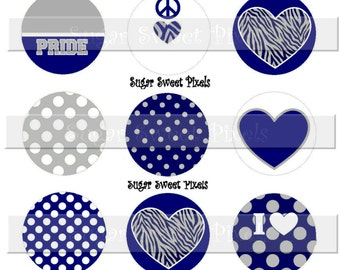 INSTANT DOWNLOAD Blank Navy Blue Silver Grey  School Mascot 2  1 inch Circle Bottlecap Images 4x6 sheet
