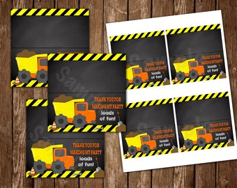 INSTANT DOWNLOAD: Construction Theme Thank You Fold Over Tags (DT01)