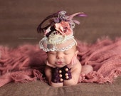 Deep Plum Purple, Dusty Rose and Ivory Fascinator Hat Photo Prop w/ Singed Satin Flower, Burlap Rose, Lace Veil, Strand of Pearls, Feathers