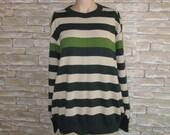 Vintage Striped Sweater, Men's Striped Sweater,Size Large,Men's Winter Wool Sweater,Long Sleeved Warm Sweater,90's Spiring Vintage Sweater