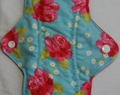Kiki Mama Cloth Menstrual Pad Size Regular Pink and Red Roses Flowers