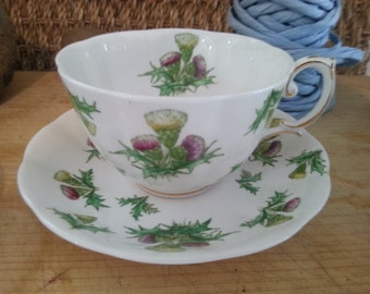 Vintage Royal Albert tea cup and saucer Highland thistle Pattern made in England