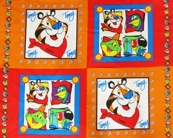 Tony the Tiger Fabric Panel for Sewing Pillows, a Throw Wallhanging or Quilt Blocks, Kellog's Spring Cotton, Frosted Flakes Cereal Character