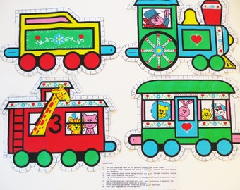 Child's Train Fabric Craft Panel to Sew and Stuff, Engine Caboose Train Cars with Animals, Gift for Child, Baby Gift