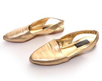 1980s LJ Simone gold slingback flats / pointed toe gold flats / slingbacks / size 7.5 M