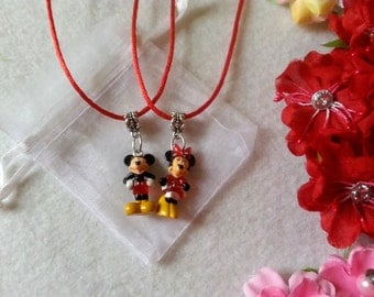 10 Minnie and Mickey mouse Figure Necklaces Party favors
