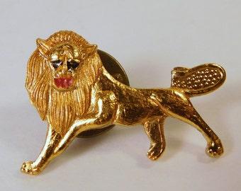 Vintage LION Tie Tack - Pin, Lapel - Hat, Gold Tone