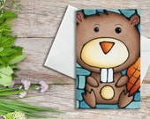 Beaver - Adorable Beaver Sitting on Turquoise Background - Birthday Card, Holiday Card, Art Card, Baby Shower Card, Invitation - Single
