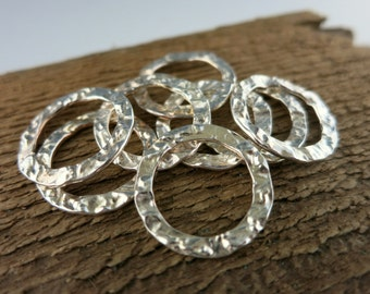 Sterling Silver Washer, 20mm OD Silver Ring, Hammered Texture