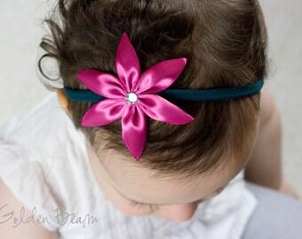 Frozen Fever Elsa Inspired Flower Headband OR Hair Clip - Elsa Inspired Pink and Teal Handmade Headband - Infant to Adult Headband