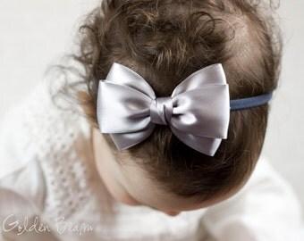 Baby Silver Emma Bow Clip OR Headband - Flower Girl Headband - Baby Satin Bow - Girls Satin Bow - Bun Hair Bow - Baby to Adult Headband