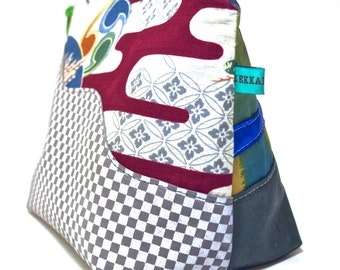 Misfit Clutch - Checkerboard Leather, Metallic Blue, Hawaiian Bark Cloth
